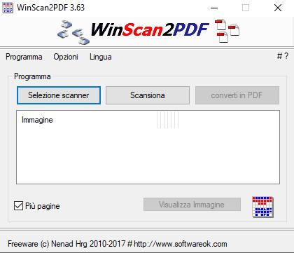 WinScan2pdf programma aperto